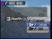 FinePix S8000fd - colour mode menus